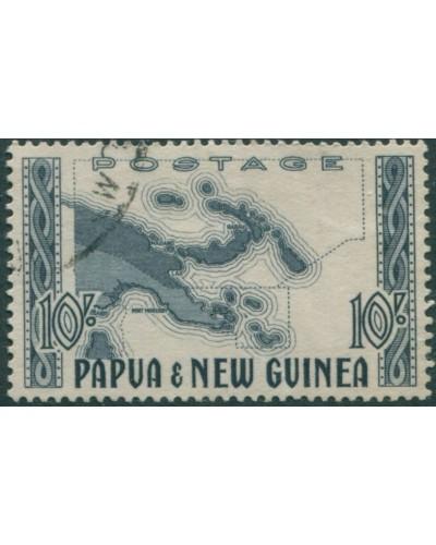 Papua New Guinea 1952 SG14 10/- Map of Papua New Guinea FU