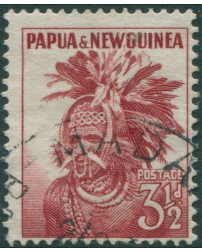 Papua New Guinea 1952 SG6 3½d red Head-dress FU