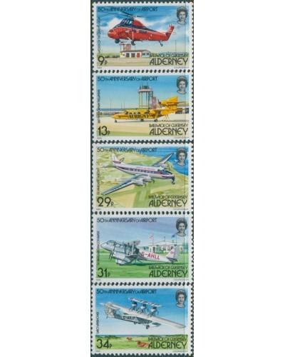 Alderney 1985 SGA18-A22 Airport set MNH