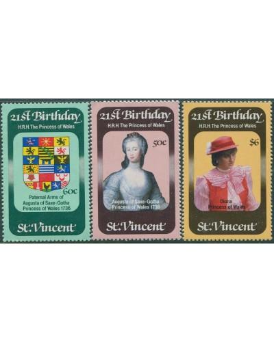 St Vincent 1982 SG694-696 Princess of Wales birthday set MNH