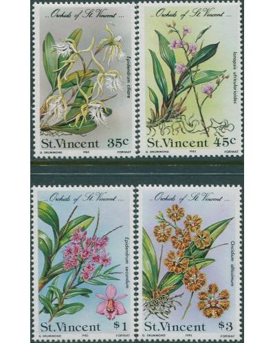 St Vincent 1985 SG850-853 Orchids set MNH
