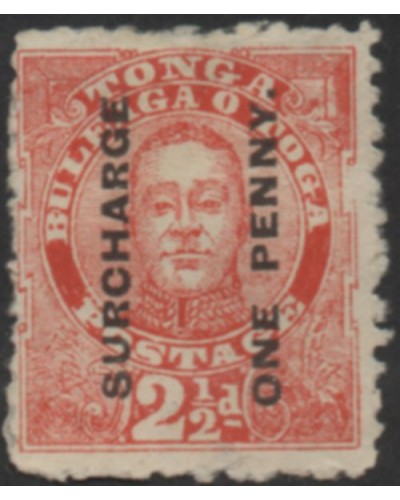 Tonga 1895 SG30 1d on 2½d vermilion King George II MH