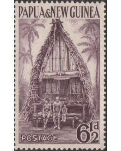Papua New Guinea 1952 SG7 6½d Kiriwana Chief House MNH
