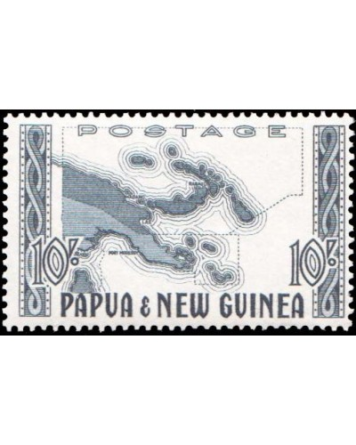 Papua New Guinea 1952 SG14 10/- Map of Papua New Guinea MLH