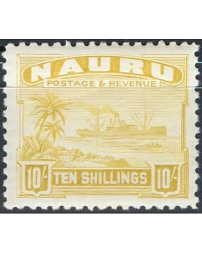 Nauru 1937 SG39B 10- yellow Freighter shiny MLH