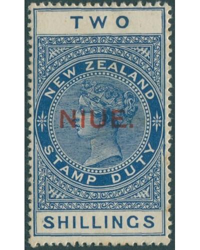 Niue 1918 SG33 2s deep blue QV fiscal MLH