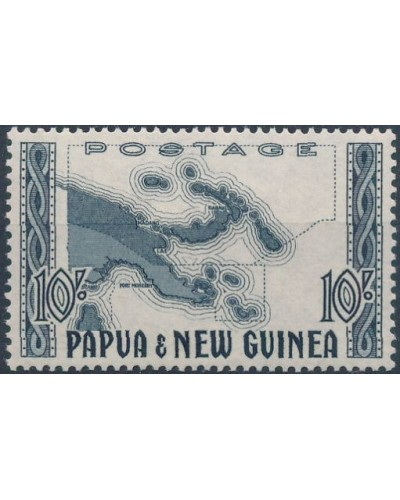 Papua New Guinea 1952 SG14 10/- Map of Papua New Guinea MLH